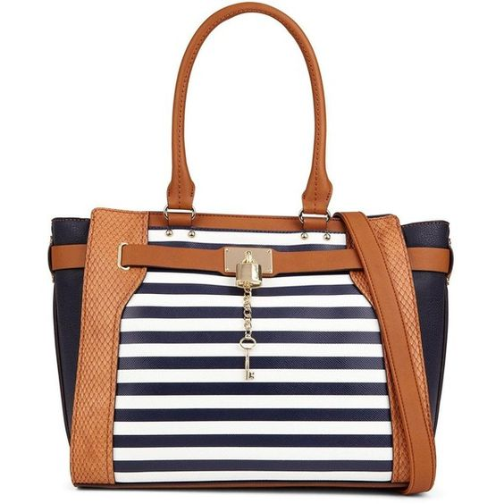 Aldo Stripe Tote Bag (94 AUD) ❤ liked on Polyvore featuring bags, handbags, tote bags, striped tote, tote handbags, summer handbags, shoulder strap purses and aldo purses