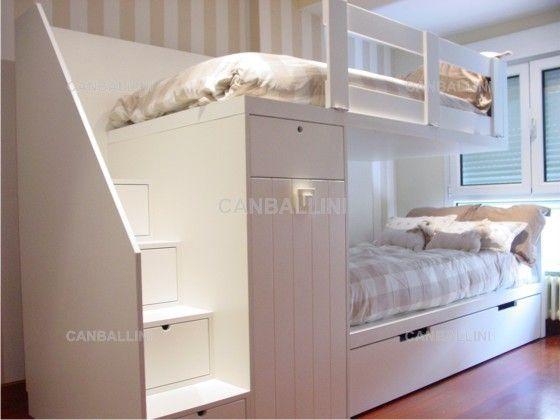Litera tren con un armario y cama nido