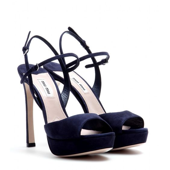 Miu Miu - Suede sandals - There's an air of '70s flair about these Miu Miu sandals. Shaped with an almond toe and comfortable platform, they feature a curved heel and thin straps that add a quirky twist to the silhouette. Work the navy hue with everything - it's seriously easy to style. seen @ www.mytheresa.com