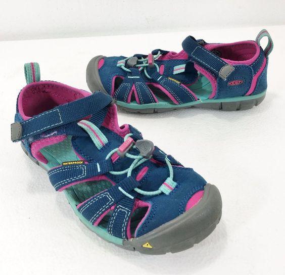 Keen Kids Size 2 US 34 EU Waterproof Sport Sandals Blue & Pink  #KEEN #Sandals