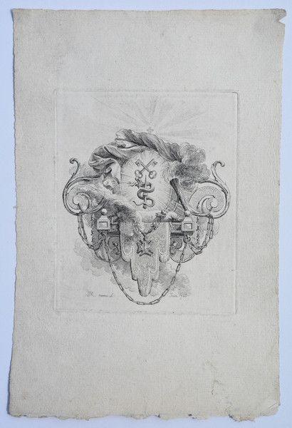 18th Century French Heraldic Engraving Date: 1766 Plate Size: 5.75 x 4.75 Engraver: Jean-Michel Moreau le Jeune