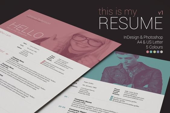 Curriculum Vitae \/Resume Design CV design Pinterest - graphic resume
