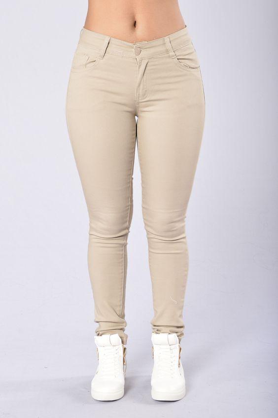 Skinny Uniform Pants - Khaki