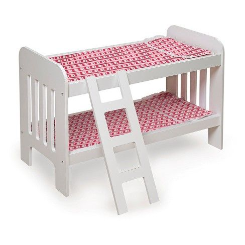 Badger Basket Doll Bunk Bed With Bedding Ladder And Free Personalization Kit White Pink Chevron Chevron Bedding Pink Chevron Bedding