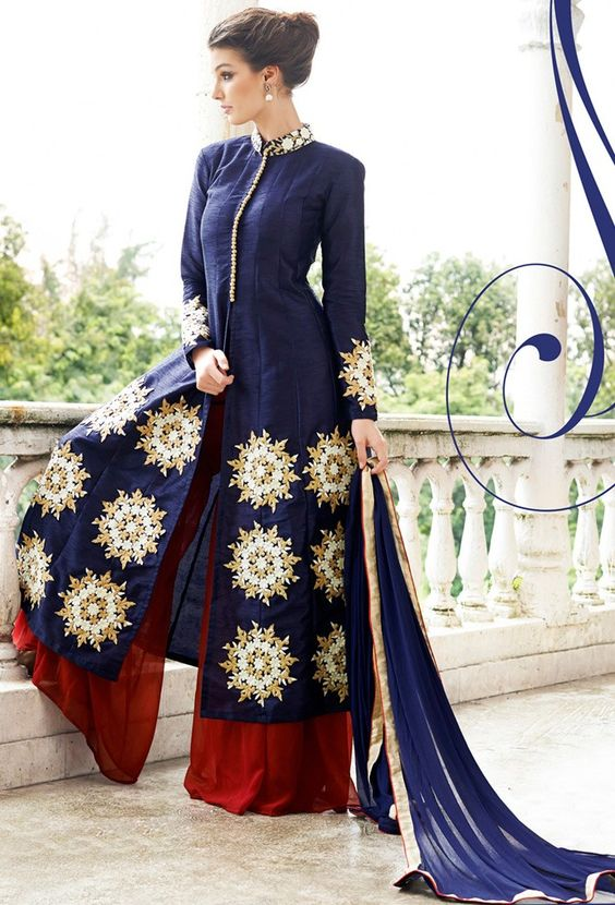 Blue Raw Silk #Designer #Palazzo #Suit with Dupatta - #Eid