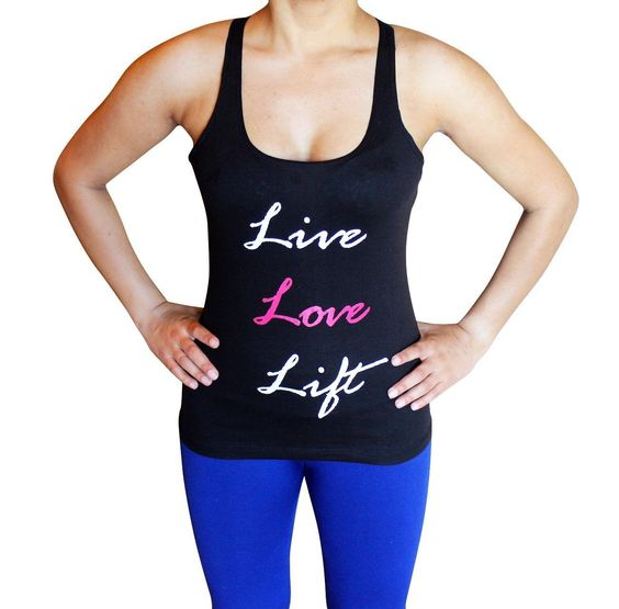 Live Love Lift Tank Top Girls Fitness Racerback Gym Yoga Workout Crossfit