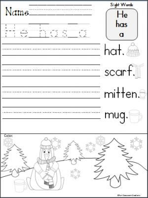 penguin sentence writing activity students trace and write he has a to complete each sentence. Black Bedroom Furniture Sets. Home Design Ideas