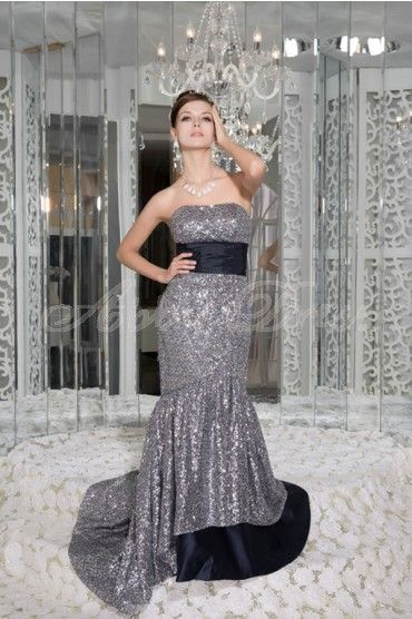 Sequins Sweep Train Strapless Silver Luxury, Modern, Unique, Noble Special Occasion Dresses Formal Evening