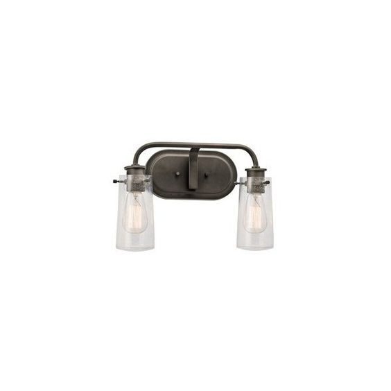 Kichler Lighting 2-Light Braelyn Olde Bronze Traditional Vanity Light ($49) ❤ liked on Polyvore featuring home, lighting, bronze lamp, kichler, bronze lighting, bronze vanity lights and kichler lamps