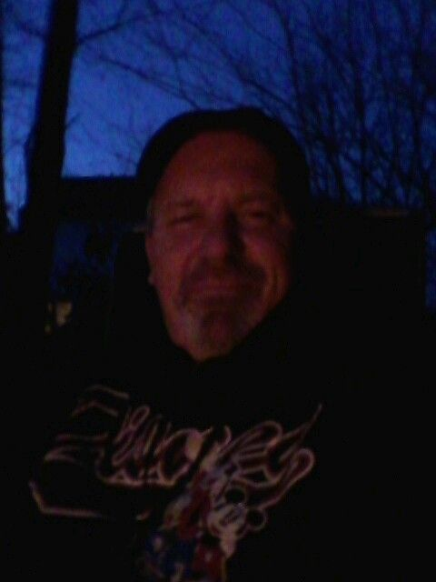 Selfie...in front of my firepit. Very cold tonight...not cold enough to keep me inside...Smile :-)