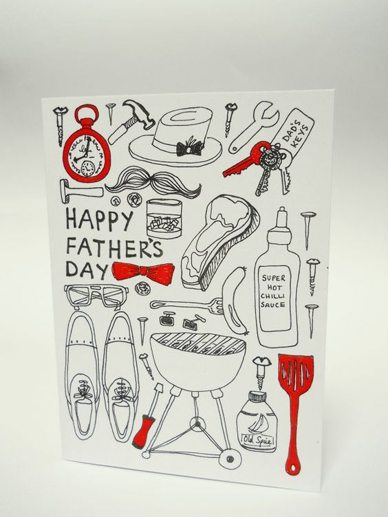 Father's Day card  blank inside  black & red by HelloHatty on Etsy, £2.50
