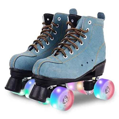 Cowhide Roller Skates Classic Premium Roller Skates Four Wheels Roller Skates Shiny Roller Skates for Unisex High-Top Shoes Double-Row Design