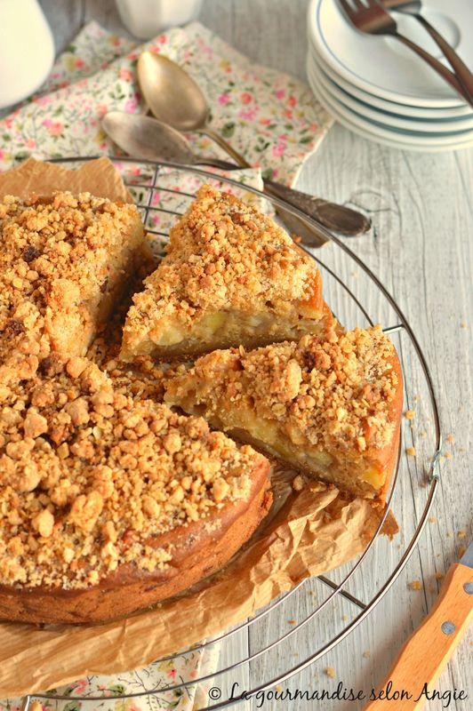 Gâteau aux Pommes Façon Crumble #recette #vegan #végétal @ La Gourmandise selon Angie
