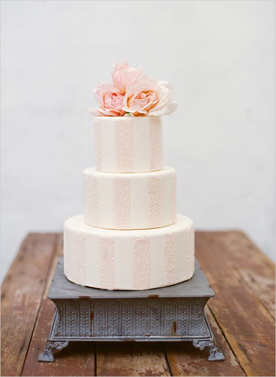 striped peach and white wedding cake by Erica OBrien