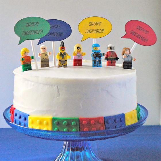 Minifigure Birthday Cake LEGO Party Party Ideas Pinterest - Lego birthday cake decorations