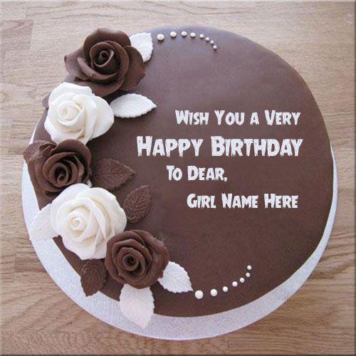 Customize Chocolate Rose Birthday Cake With Girl Name Print Name