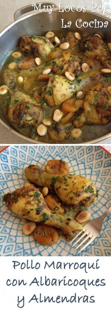 Pollo Marroquí con Albaricoques y Almendras: Una maravillosa mezcla de especias, hierbas aromáticas, miel, albaricoques deshidratados (orejones) y almendras crujientes hacen que este plato de pollo esté delicioso.