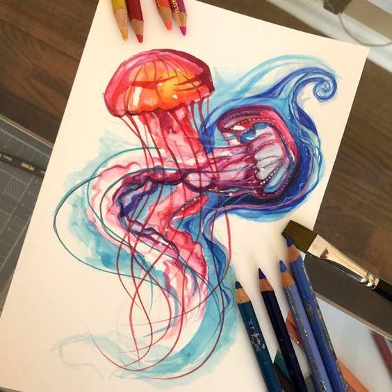 redbluejellyfishpaintdraw