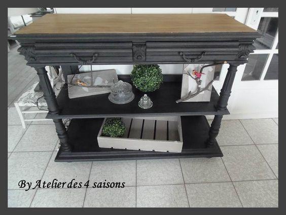 Buffet desserte console en ch ne patin gris ardoise plateau bois Creation bois objet pratique esthetique