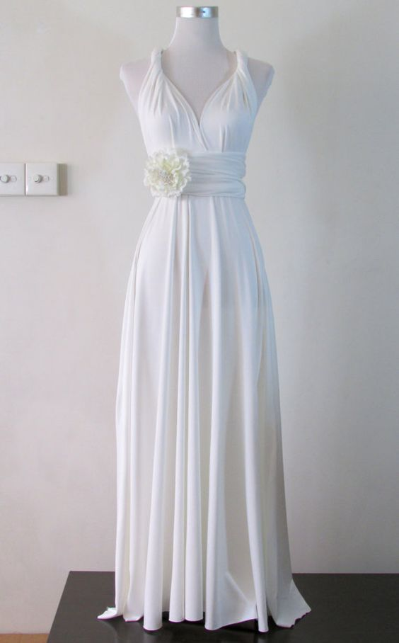 Simple wedding Dress Convertible Dress in White by HerBridalParty
