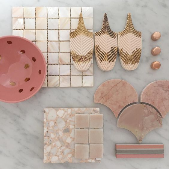 Pink and Nude Perfection showcasing our @botteganove PLUMAGE polished pink marble fans Mother of pearl mosaics and beautiful terrazzo. Flat lay styled by @petrinaturnerdesign #byzantinedesigngallery #256highstprahran #tiles #marble #pinktiles #pinkmarble #motherofpearl #terrazzo #interiordesign #interiordesignmelbourne #melbournedesign #design #interiors #architecture #architecturemelbourne #styling #stylist #flatlay #themostbeautifultilestoreinmelbourne #yeahwerealittleobsessedwithtiles