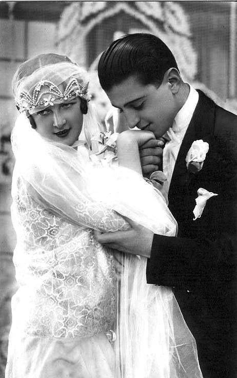 Vintage bride and groom.