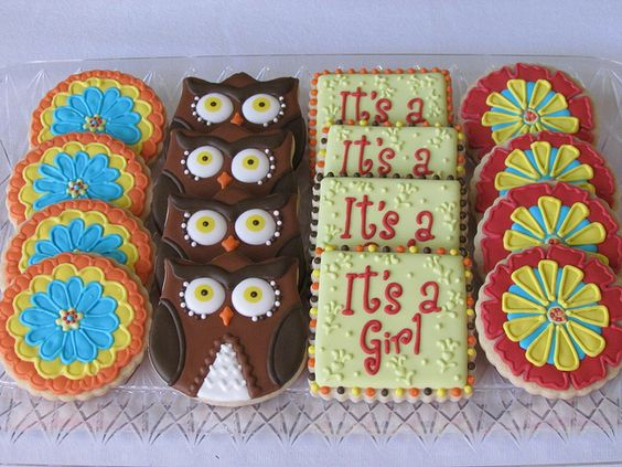 Love!: Owl Baby Showers, Cookies Flowers, Cookie Inspiration, Flower Cookies, Girl Cookies, Baby Shower Cookies, Sugar Cookie