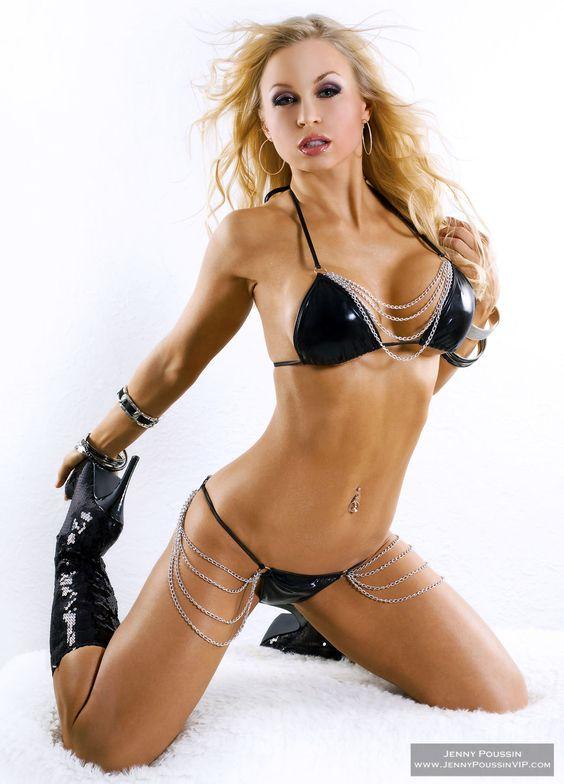 Jenny Poussin of her set Black & White Chain Bikini
