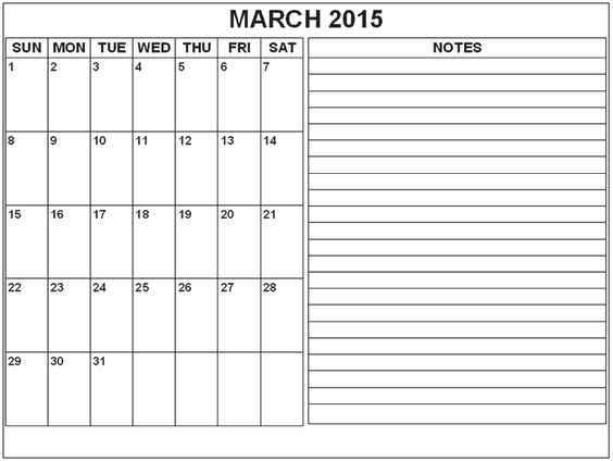 Download March  Calendar With Notes Cute March  Calendar