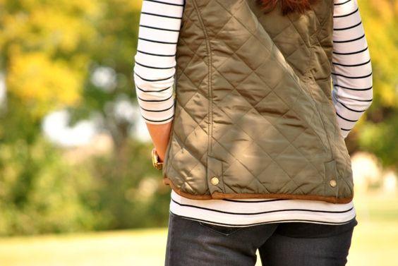 Olive vest and stripes! #stripesandolive #outfit