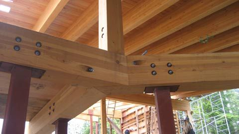 Compound Glulam Beam Connection To Steel Hss Columns
