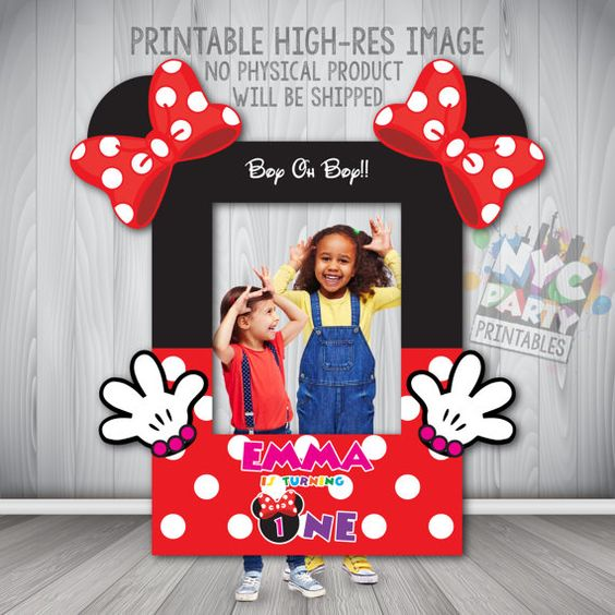 This is a Minnie Mouse Birthday Printable Photo Booth Frame that will measure 30 x 40 inches when printed. Minnie Mouse Birthday Printable Photo Booth Frame, add in our themed photo booth props (https://www.etsy.com/listing/281243402/minnie-mouse-photo-booth-props) and photo booth backdrop (https://www.etsy.com/listing/294776265/minnie-mouse-photo-backdrop-minnie) its sure to be hours of fun at this photo booth.  This Mouseketeer Emma is turning the Big ONE but can be customized/customised…