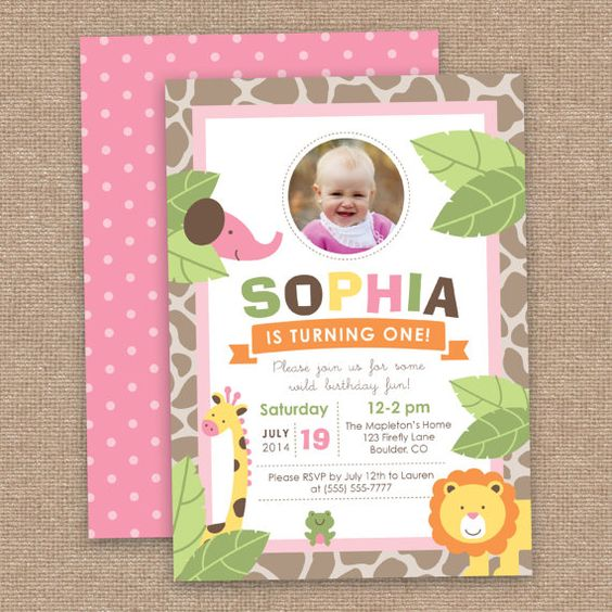 Girl Jungle First Birthday Invitation Safari by JessicasInvites