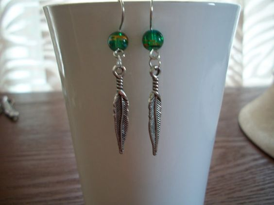 Silver Feather Earrings by Brendas Beading on by BrendasBeading, $8.95
