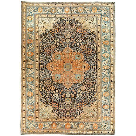 Persian Mohtashem Kashan Rug For Sale at 1stdibs