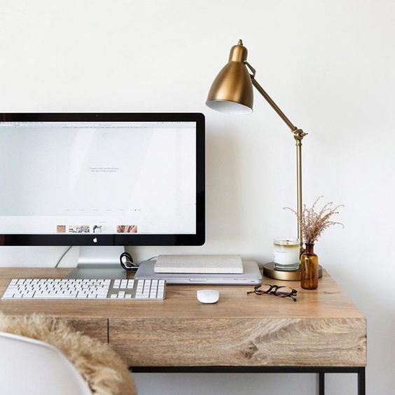 Gold desk lamp + simple writing desk