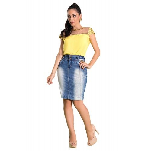 Saia Jeans Pespontos e Recortes - Laura Rosa Jeans