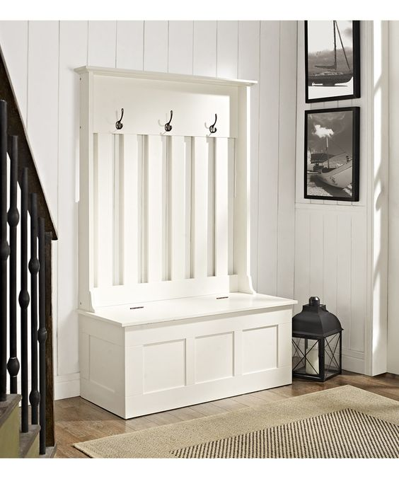 White Ogden Entryway Hall Tree Storage Bench Entryway Benches And Hallways
