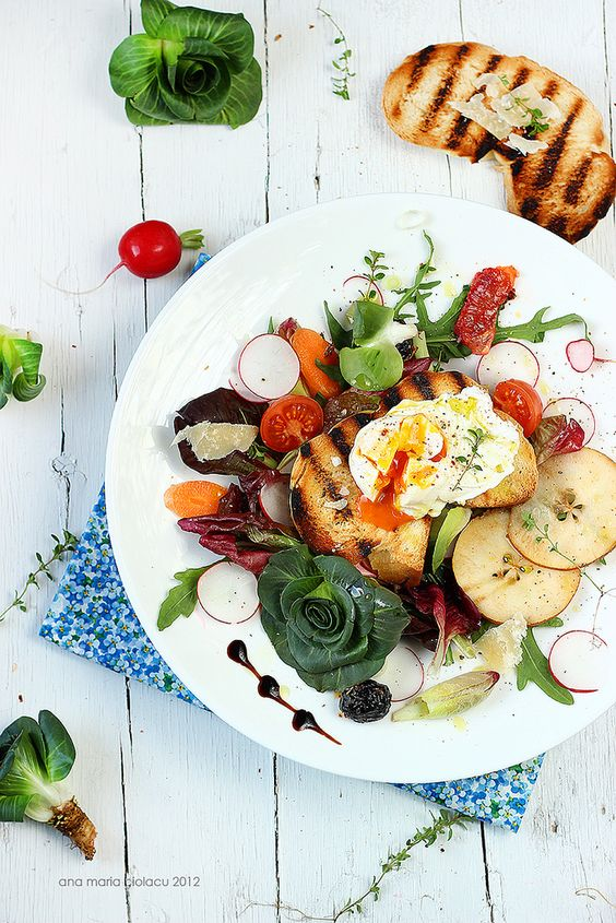 Spring Salad by justlovecookin: Radicchio, radishes, blood orange, arugula, pear, tomato, toasted bread, poached egg and balsamic vinegar! #Salad #Spring_Salad #justlovecookin