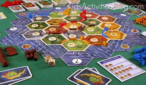 Settlers of Catan is a great game for the entire family starting at age 8 and is #2 on the top 10 board games for families from Kids Activities Blog.