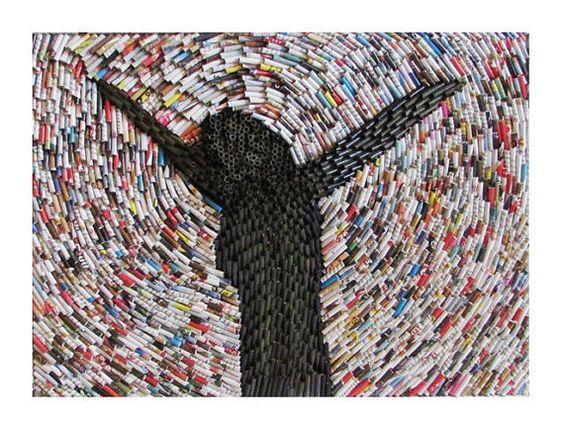 Wandbild Collage Recycling Kunst auf Keilrahmen von fantasmania