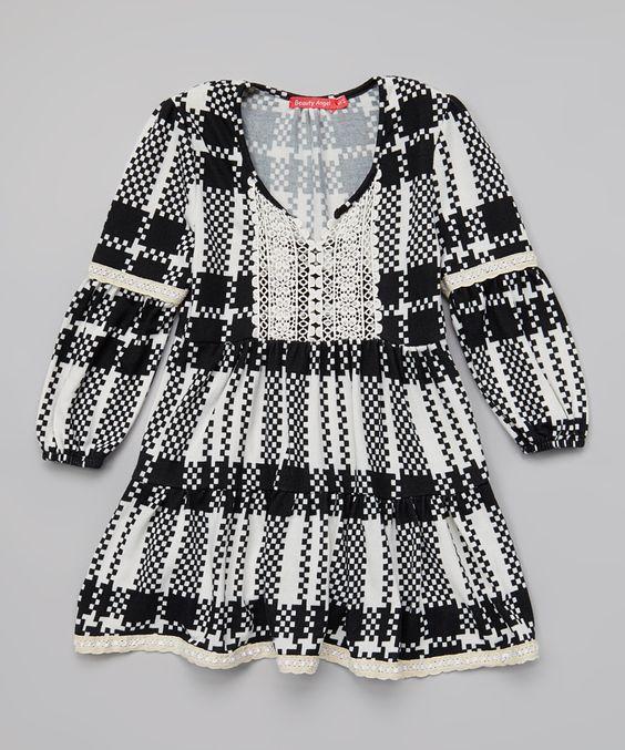 Black & White Plaid Crocheted Dress