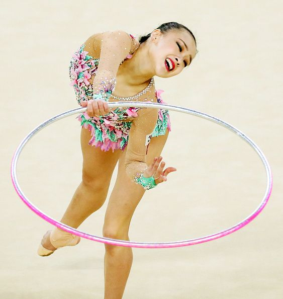 Son Yeon Jae of South Korea competes in hoop of the Individual AllAround final on Day 15 of the Rio 2016 Olympic Games at Rio Olympic Arena on August...