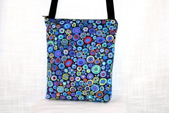 Zip Pouch Bright Paperweight Colors on Black Print by MeeMawsBags, $12.50