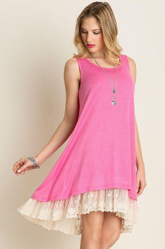 Details about Umgee Boho Pink Sleeveless Swing Dress -Tunic Lace ...