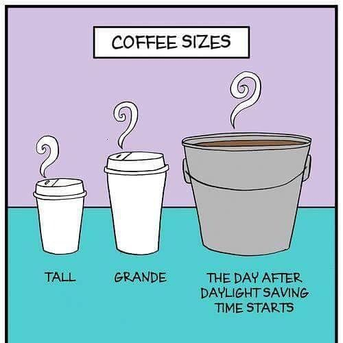 "Hope your remembered to ""spring"" your clocks ahead and locate your largest sized coffee cup this morning! Happy Sunday!"