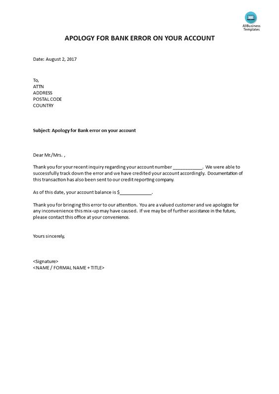 Apology for Bank error on your account - sample letter for apology - bank reconciliation statement template