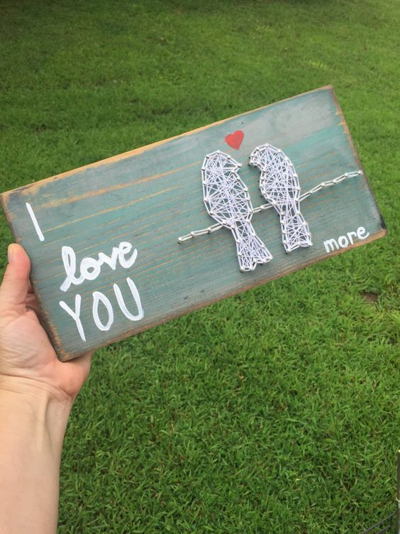 I love you more bird on a wire string art by mckennahgraceandco on Etsy
