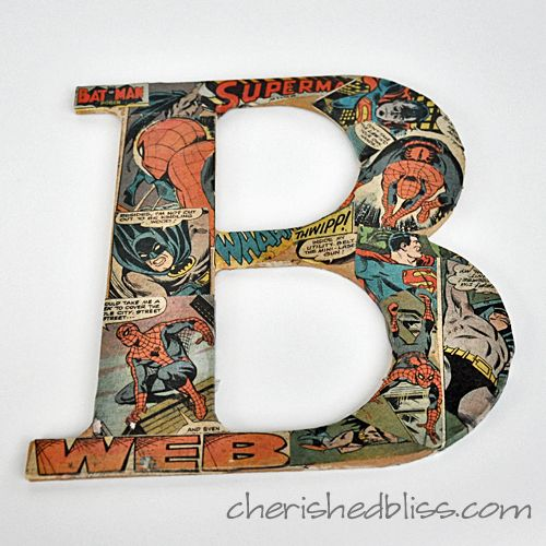 Comic book pages Mod Podged onto Hobby Lobby chipboard letters- perfect for a little boy's room!