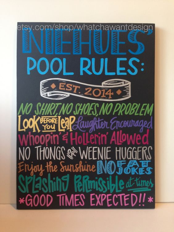 Custom hand painted pool rules outdoor sign by for Pool design rules